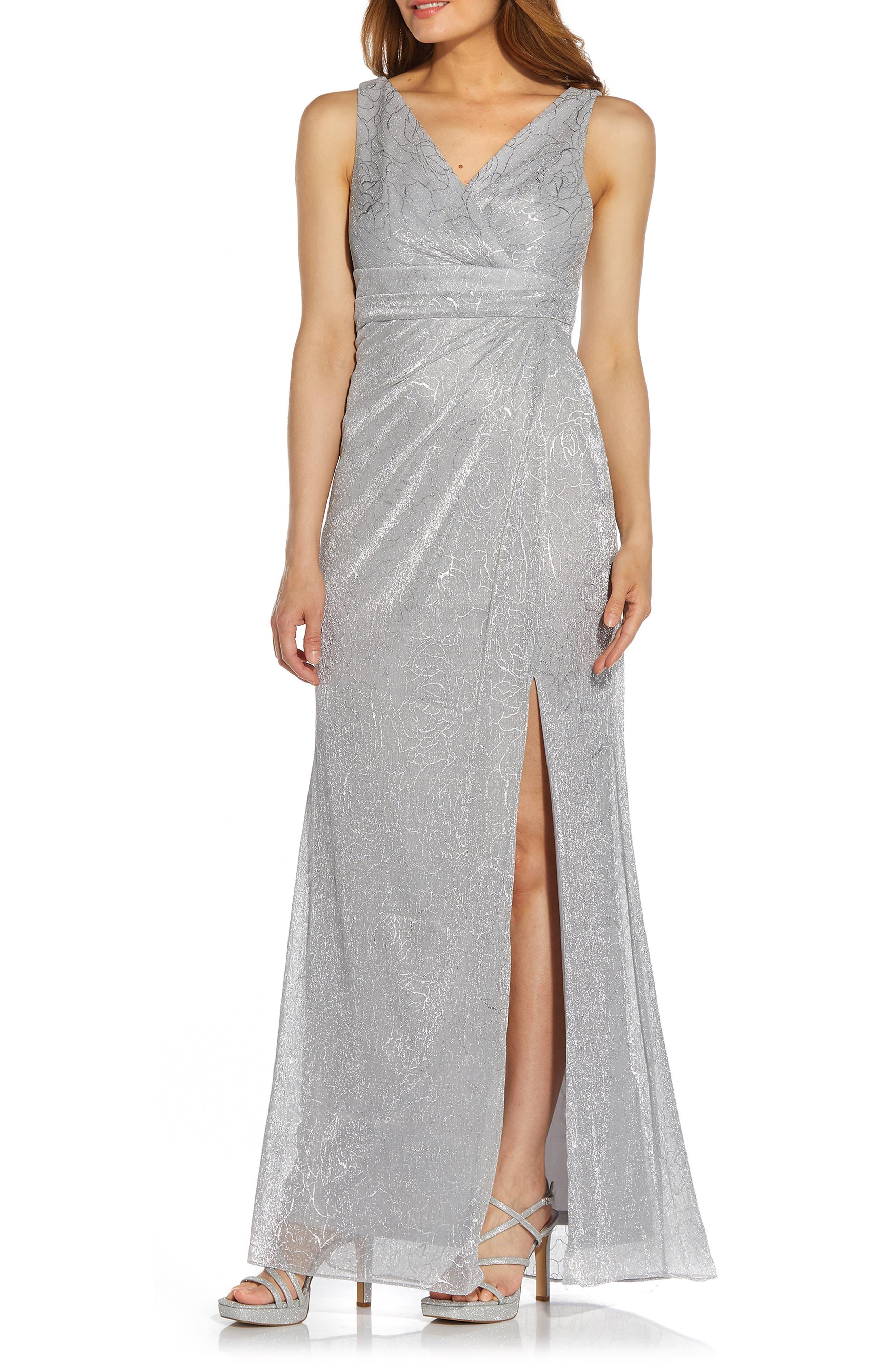 Metallic Floral Stencil Mesh Draped Gown