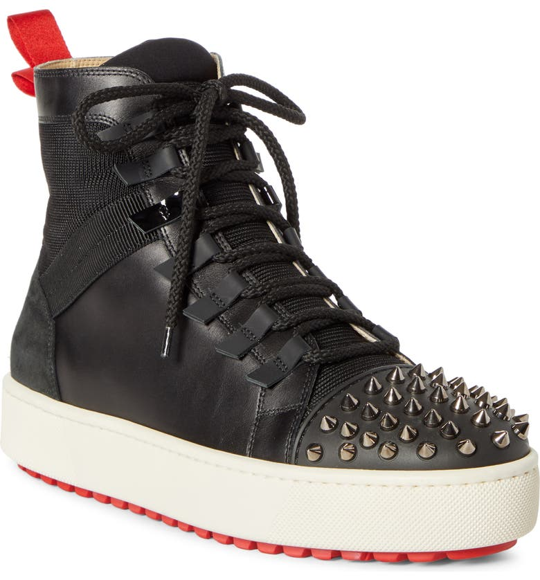 CHRISTIAN LOUBOUTIN Smartic Spike High Top Sneaker, Main, color, BLACK