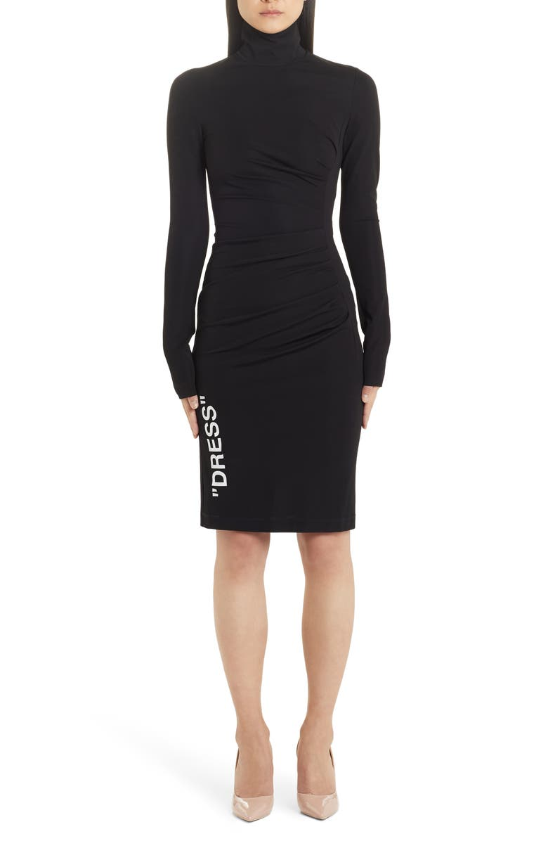 OFF-WHITE Side Ruched Short Dress, Main, color, BLACK WHITE