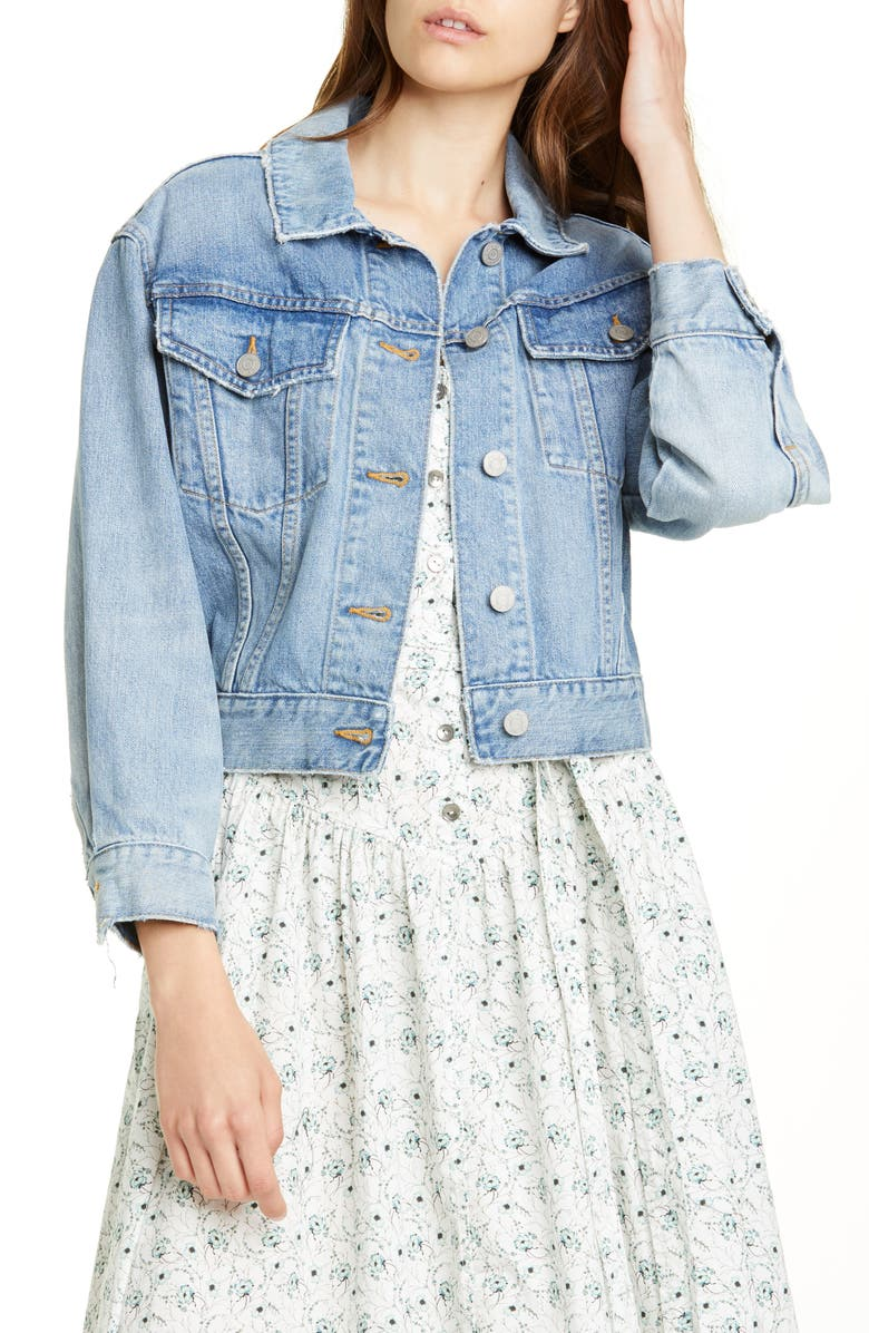 LA VIE REBECCA TAYLOR Crop Denim Jacket, Main, color, ETIENNE WASH