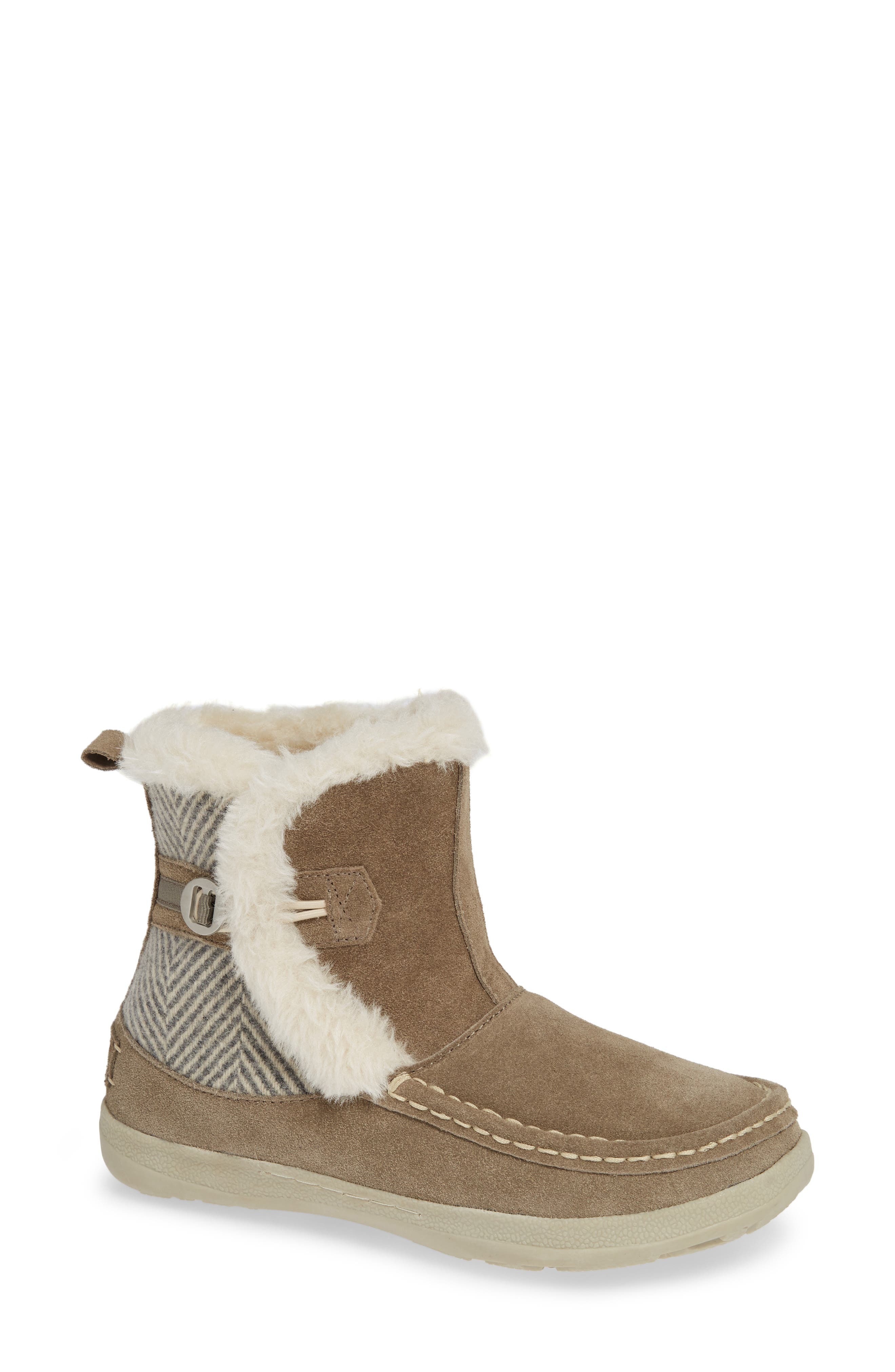 ,                             Pine Creek II Faux Fur Trim Boot,                             Main thumbnail 1, color,                             STEEL/ HERRINGBONE SUEDE