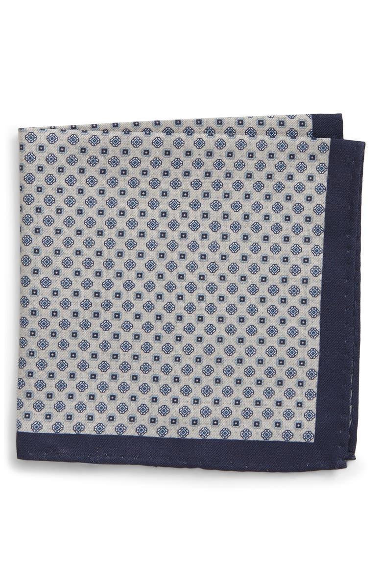 NORDSTROM MEN'S SHOP Reversible Silk & Cotton Pocket Square, Main, color, GREY