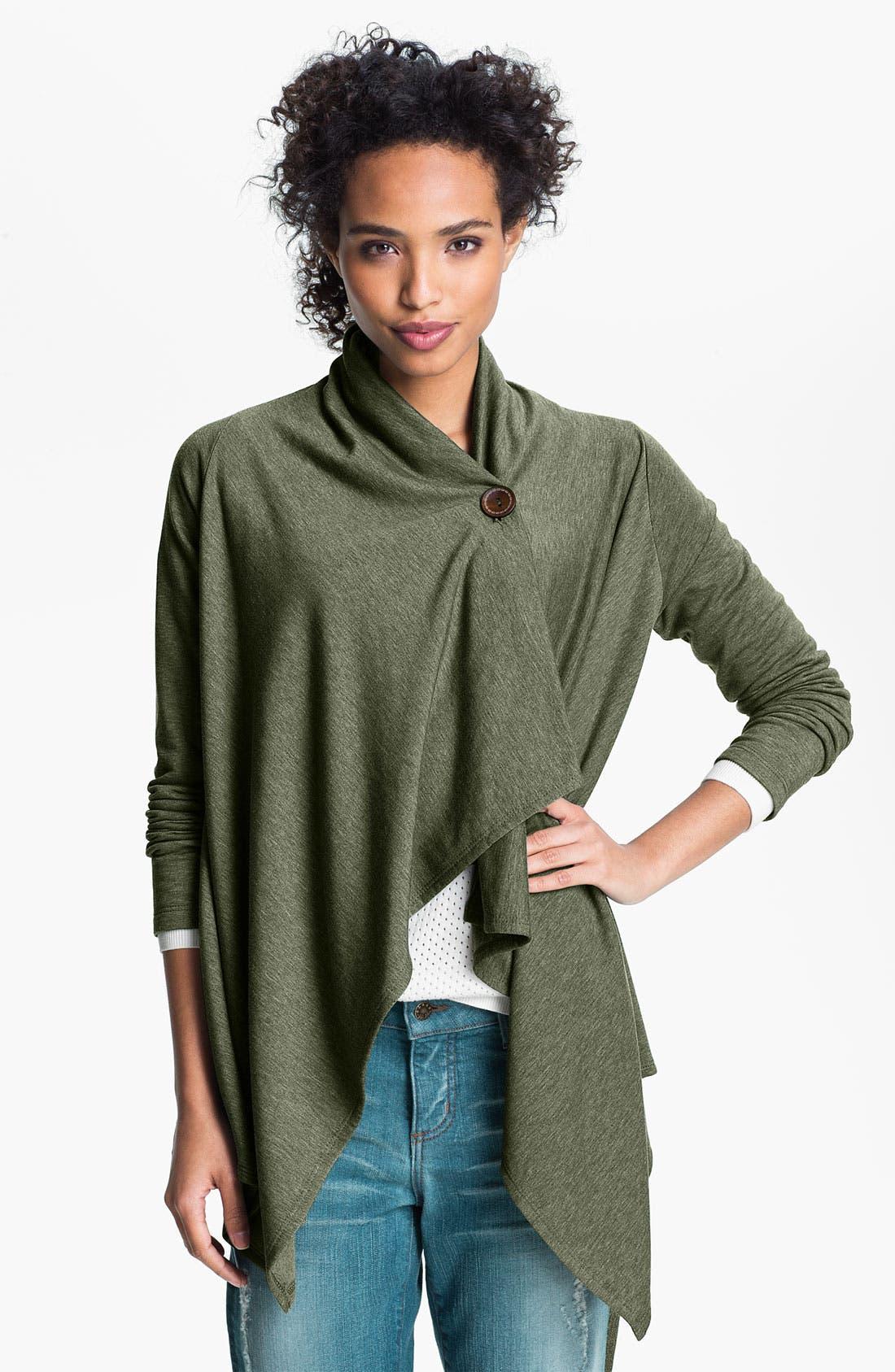 ,                             One-Button Fleece Wrap Cardigan,                             Main thumbnail 71, color,                             304