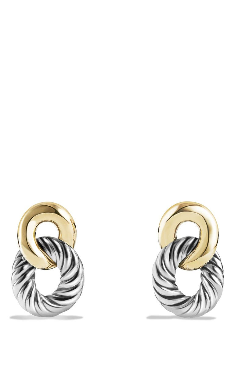 DAVID YURMAN 'Belmont' Curb Link Drop Earrings with 18K Gold, Main, color, TWO TONE