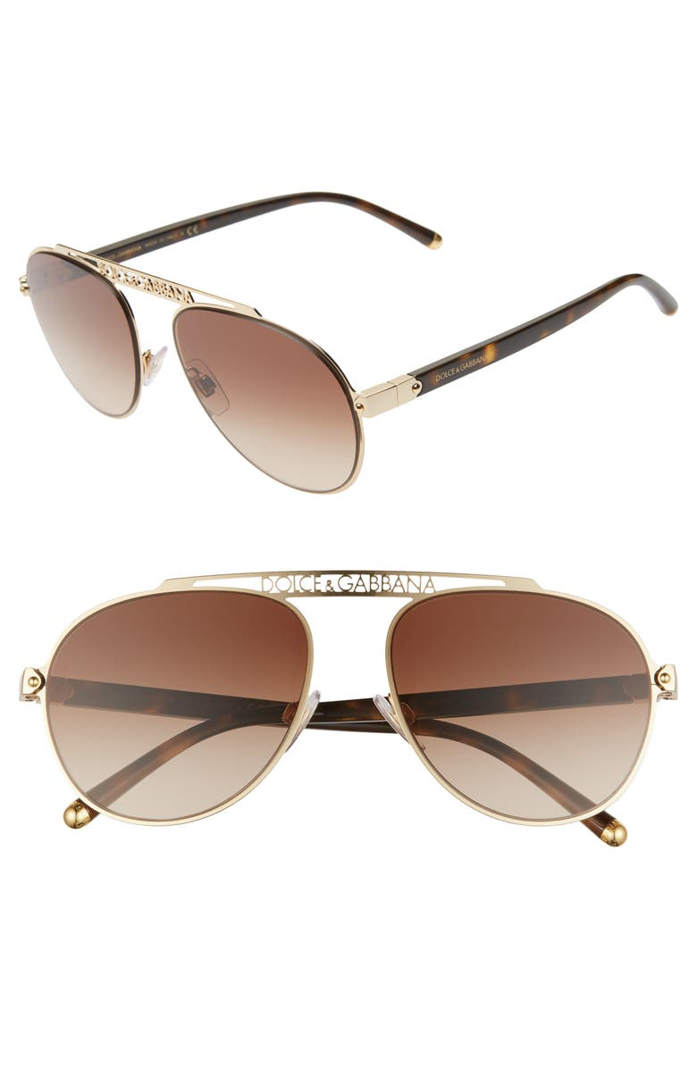 DOLCE&GABBANA 57mm Gradient Pilot Aviator Sunglasses, Main, color, GOLD/ BROWN GRADIENT