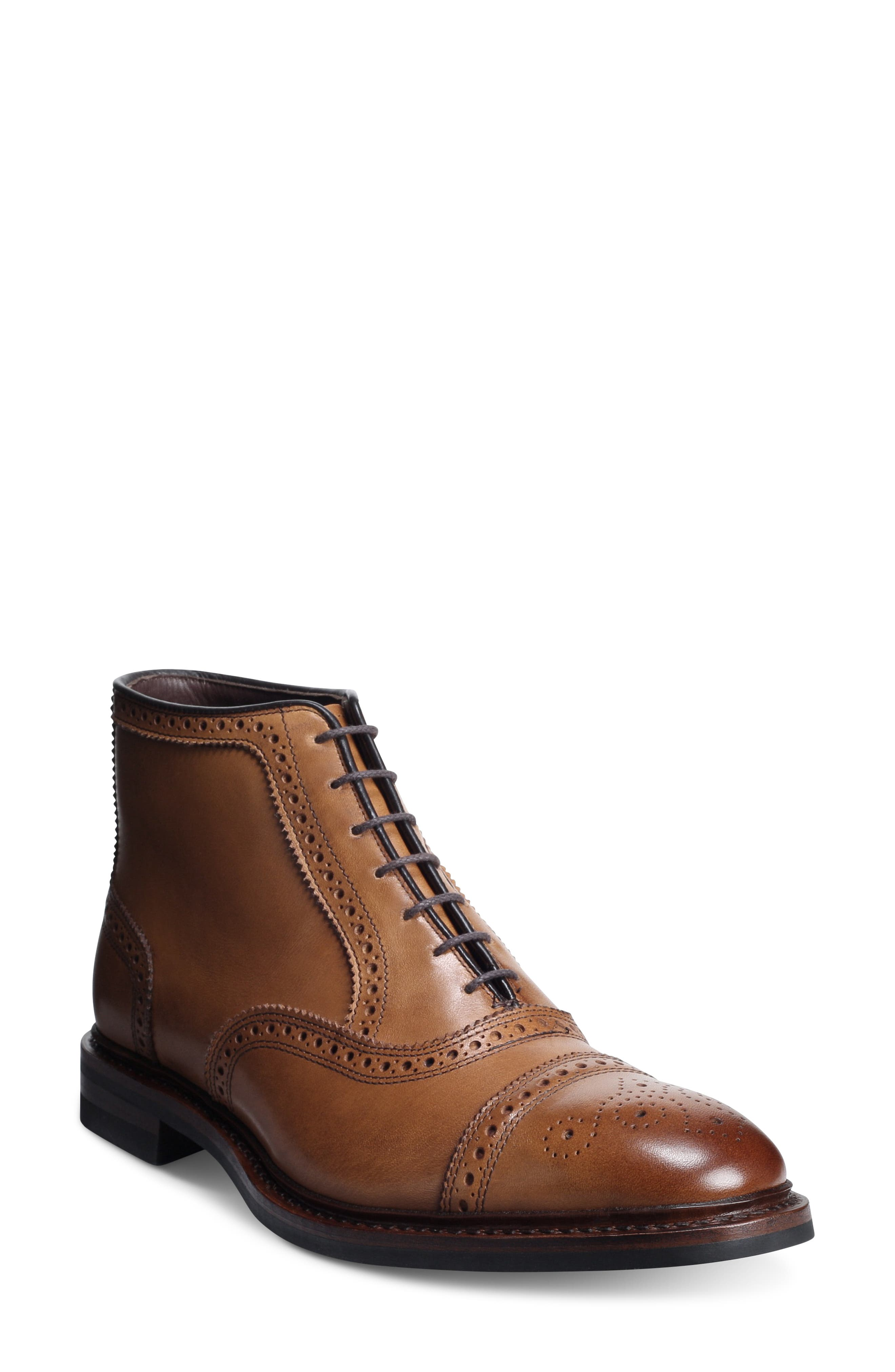 Handcrafted in America, this chukka boot steps it up a notch with serrated brogued seams and a medallion wingtip toe. Allen Edmonds has been making shoes in America for nearly 100 years using fine leathers, a 212-stepcrafting process and 360 degree Goodyear welt construction to ensure a high-quality product, every time. Style Name: Allen Edmonds Hamilton Wingtip Chukka Boot (Men). Style Number: 5939610. Available in stores.