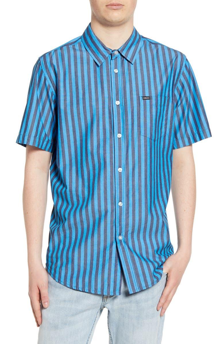 OBEY Langston Stripe Woven Shirt, Main, color, SKY BLUE MULTI
