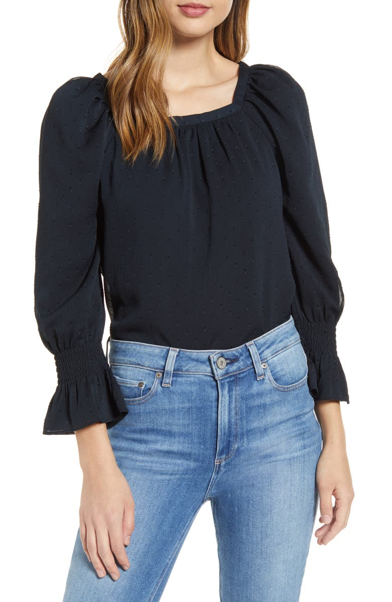 RACHEL PARCELL Square Neck Textured Long Sleeve Blouse, Main, color, 001