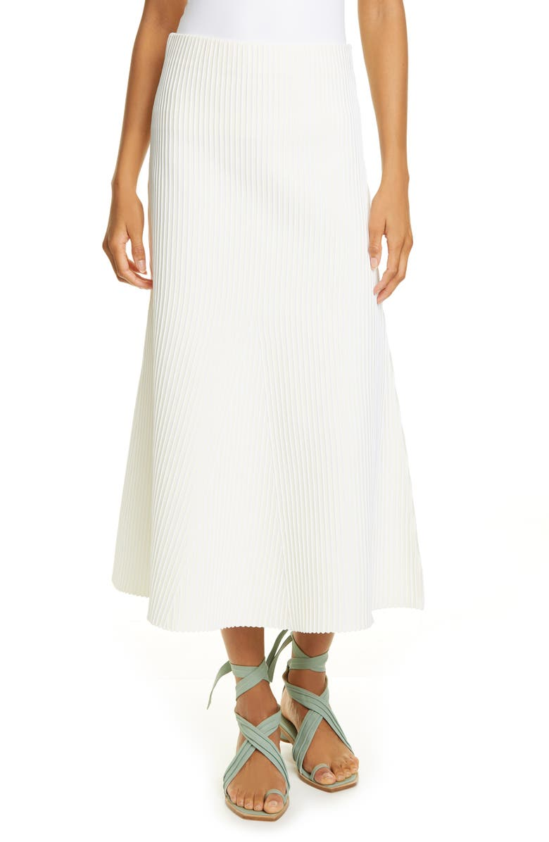 Tibi Tech Ribbed Midi Skirt