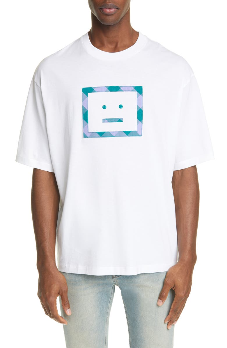 ACNE STUDIOS Erian Check Face T-Shirt, Main, color, OPTIC WHITE