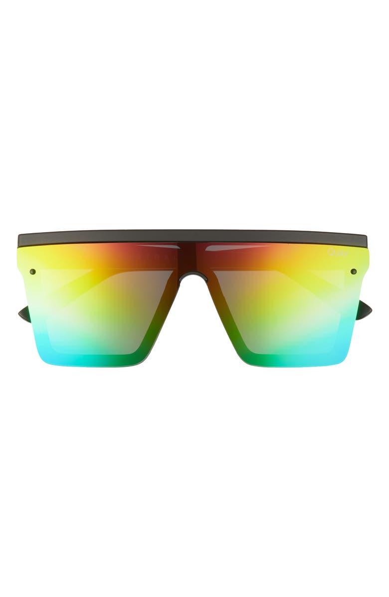 QUAY AUSTRALIA Hindsight 67mm Shield Sunglasses, Main, color, MATTE BLACK/ RAINBOW