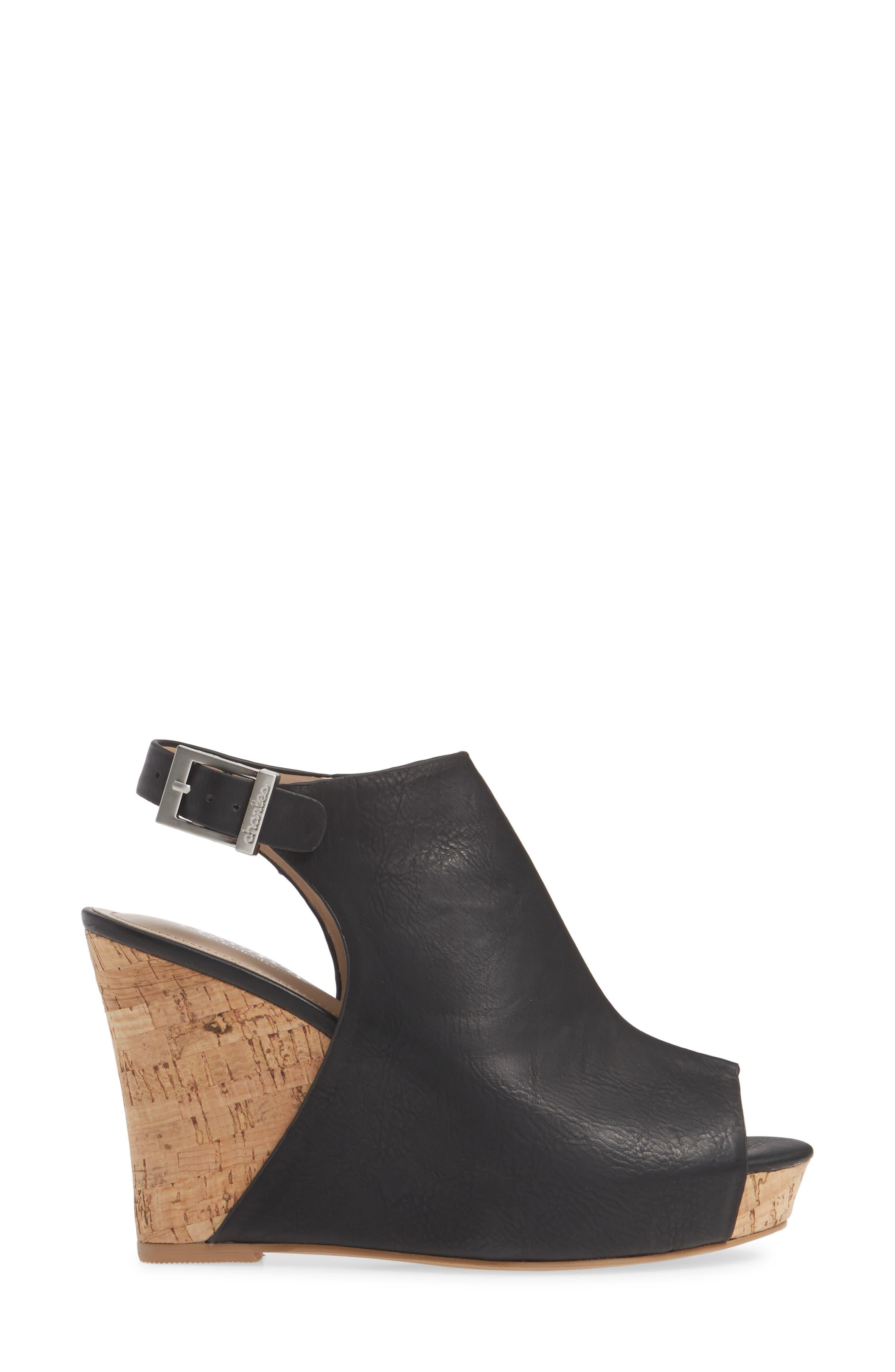,                             Lobby Slingback Wedge Sandal,                             Alternate thumbnail 3, color,                             BLACK FAUX LEATHER