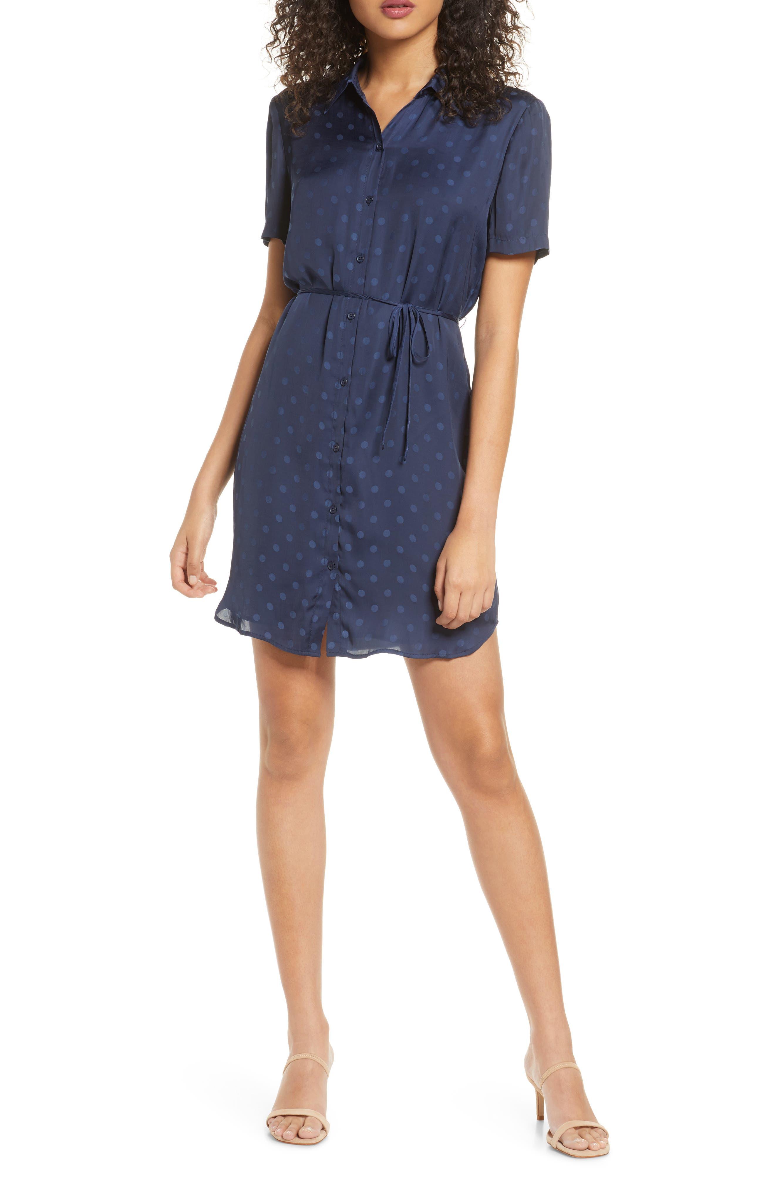 Image of BB Dakota Dot Jacquard Shirt Dress