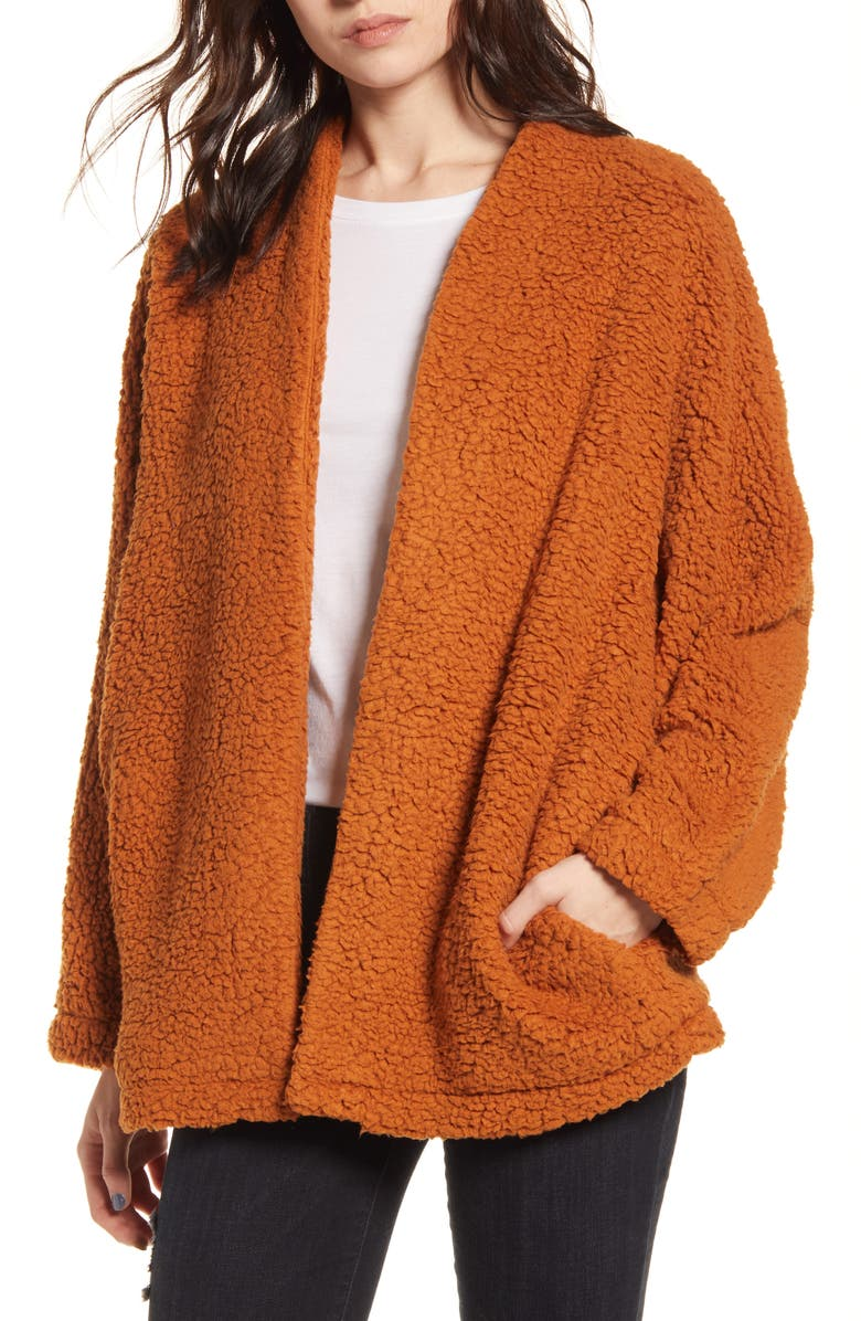 ALL IN FAVOR Cozy Open Front Cardigan, Main, color, CAMEL