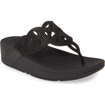 Fitflop Elora Crystal Flip Flop, Black