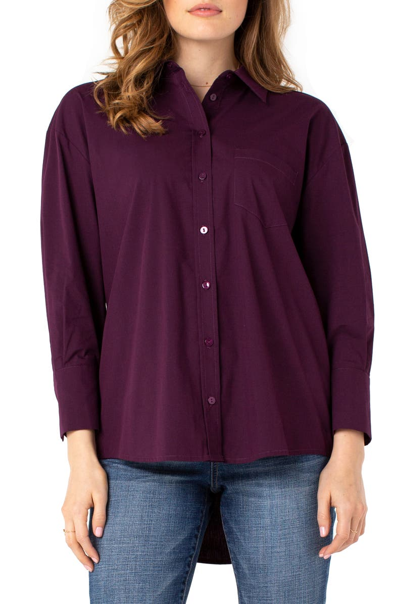 LIVERPOOL Oversize Classic Button-Up Shirt, Main, color, MULBERRY