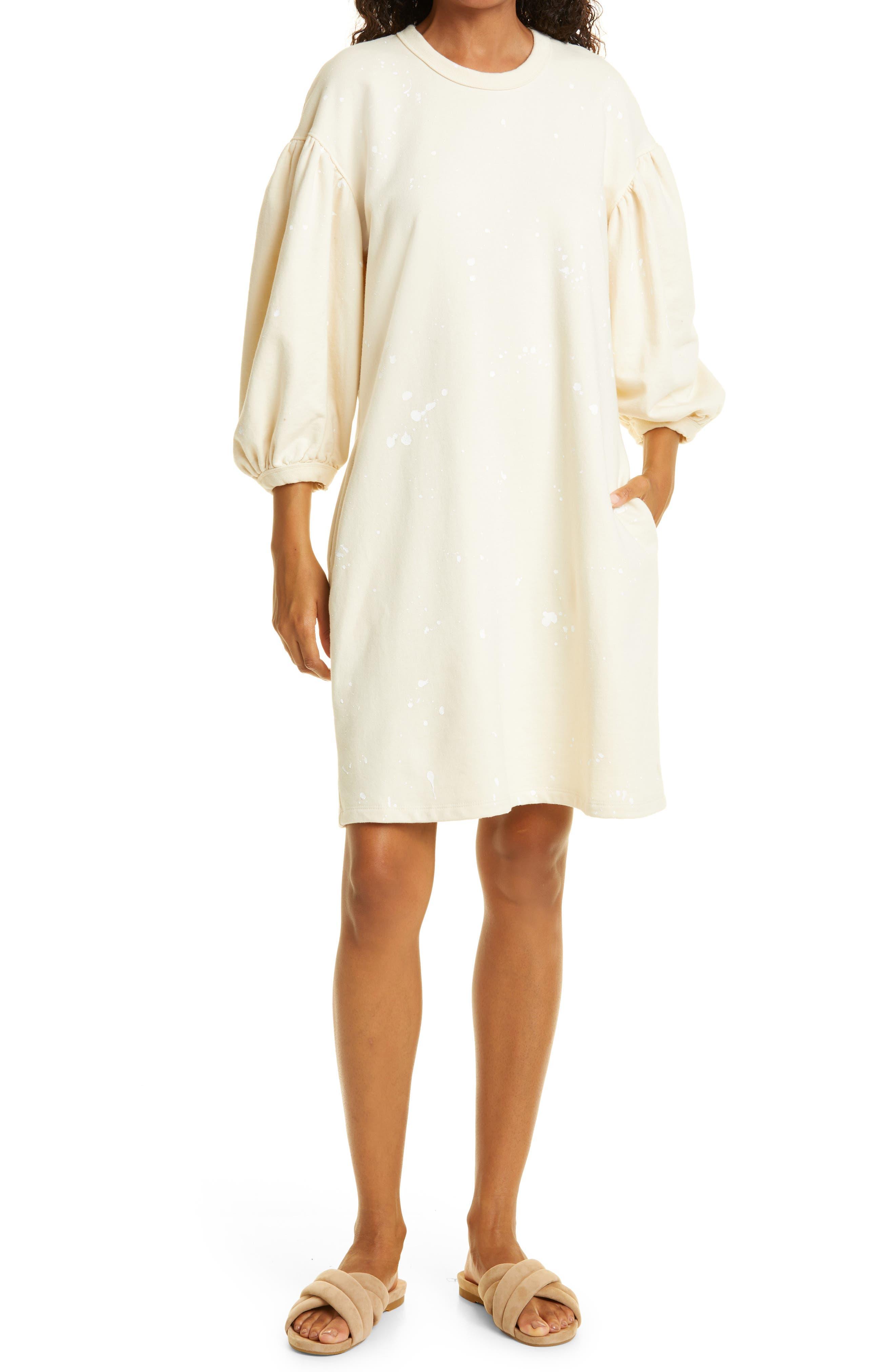 Drop Shoulder Cotton Sweatshirt Dress