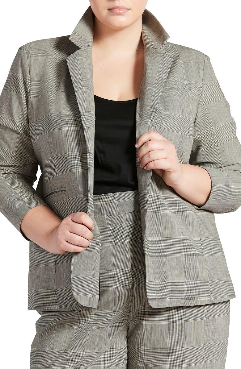 PARI PASSU Stretch Virgin Wool Blazer, Main, color, BLACK MULTI