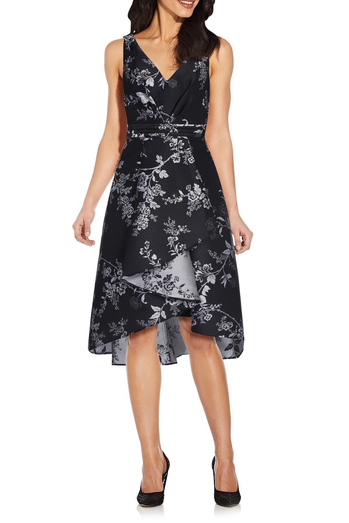 Image of Adrianna Papell Printed Jacquard High/Low Hem Dress