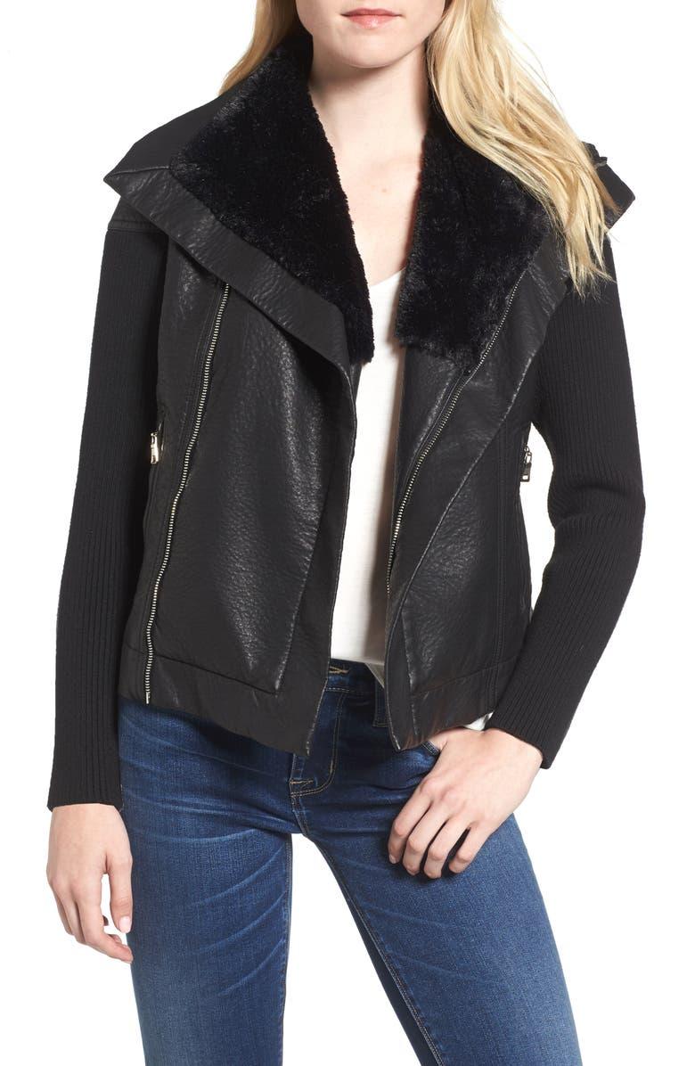 LOVE TOKEN Faux Leather Jacket with Faux Fur Trim, Main, color, 001