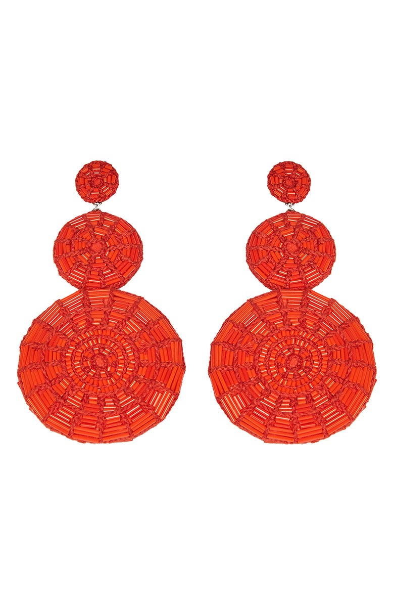 MIGNONNE GAVIGAN Hollis Beaded Drop Earrings, Main, color, RED