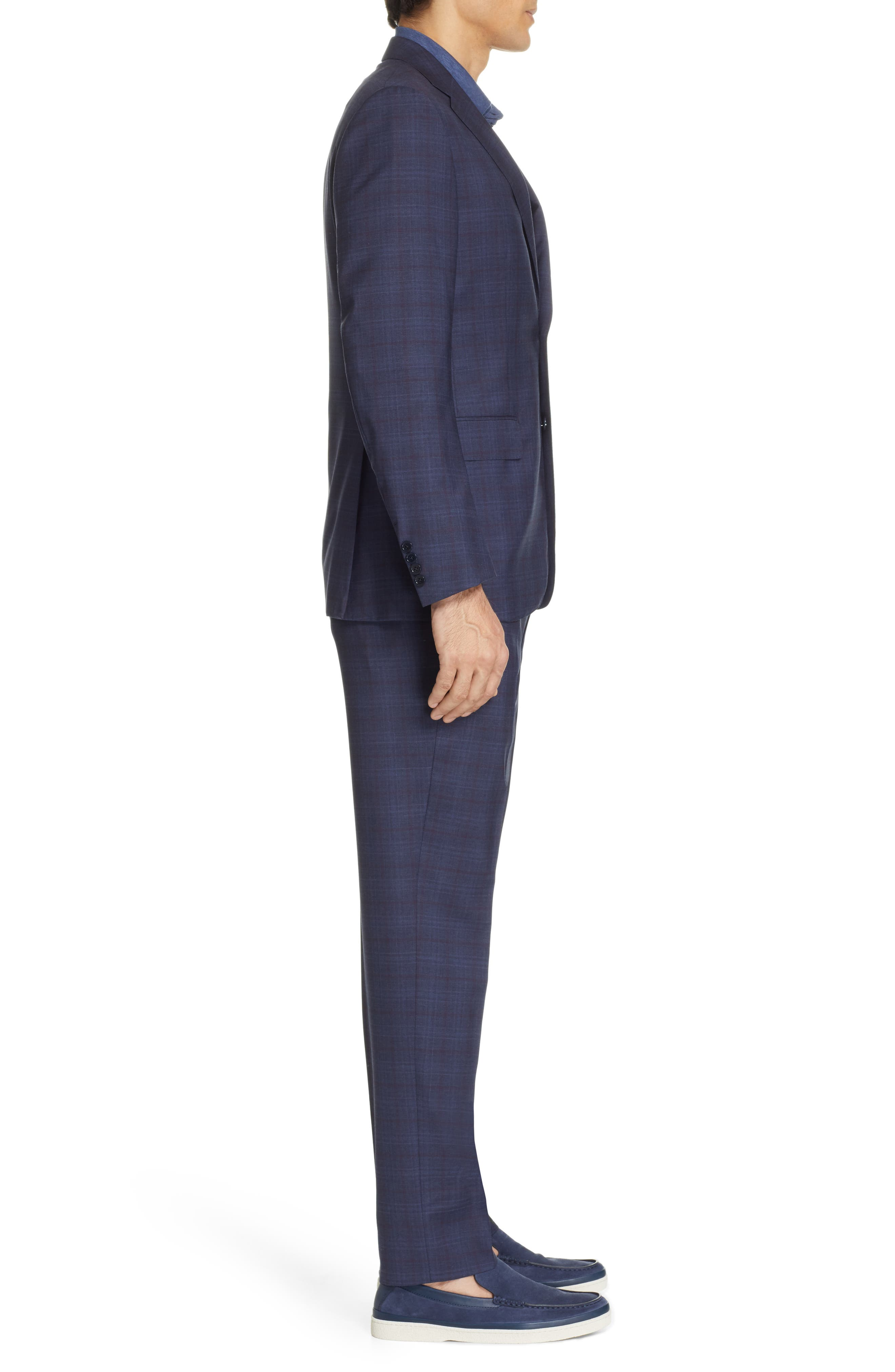 ,                             Milano Classic Fit Plaid Wool Suit,                             Alternate thumbnail 3, color,                             NAVY