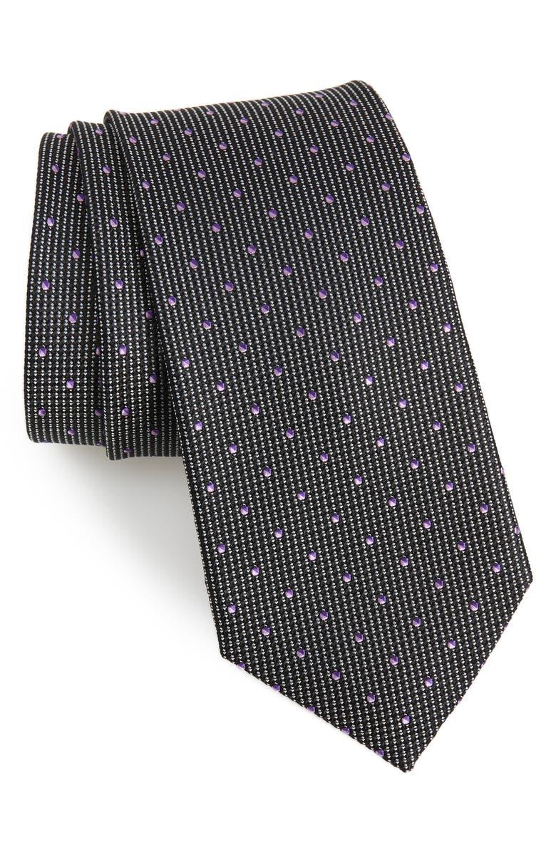 NORDSTROM MEN'S SHOP Locarno Dot Silk Tie, Main, color, 001