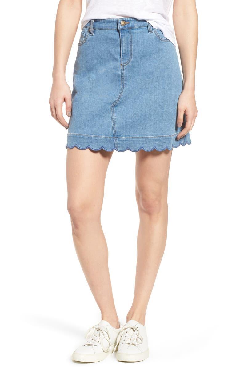DRAPER JAMES Scallop Denim Skirt, Main, color, 420