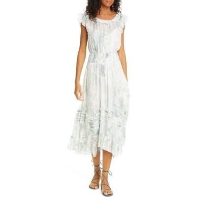 Rebecca Taylor Daffodil Handkerchief Hem Silk & Cotton Dress, White