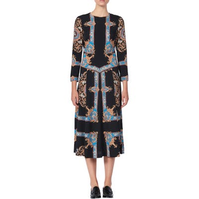 Sandro Liventa Ornate Print Midi Dress, US / 40 FR - Black