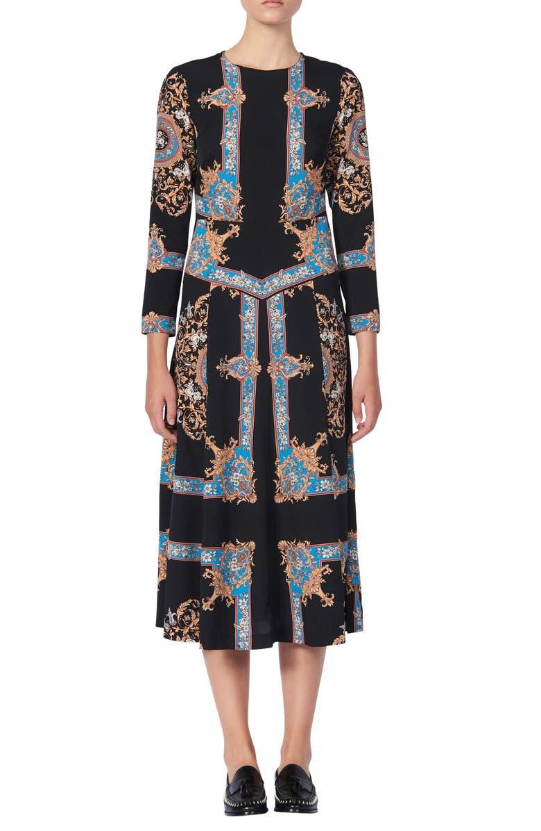 SANDRO Liventa Ornate Print Midi Dress, Main, color, BLACK