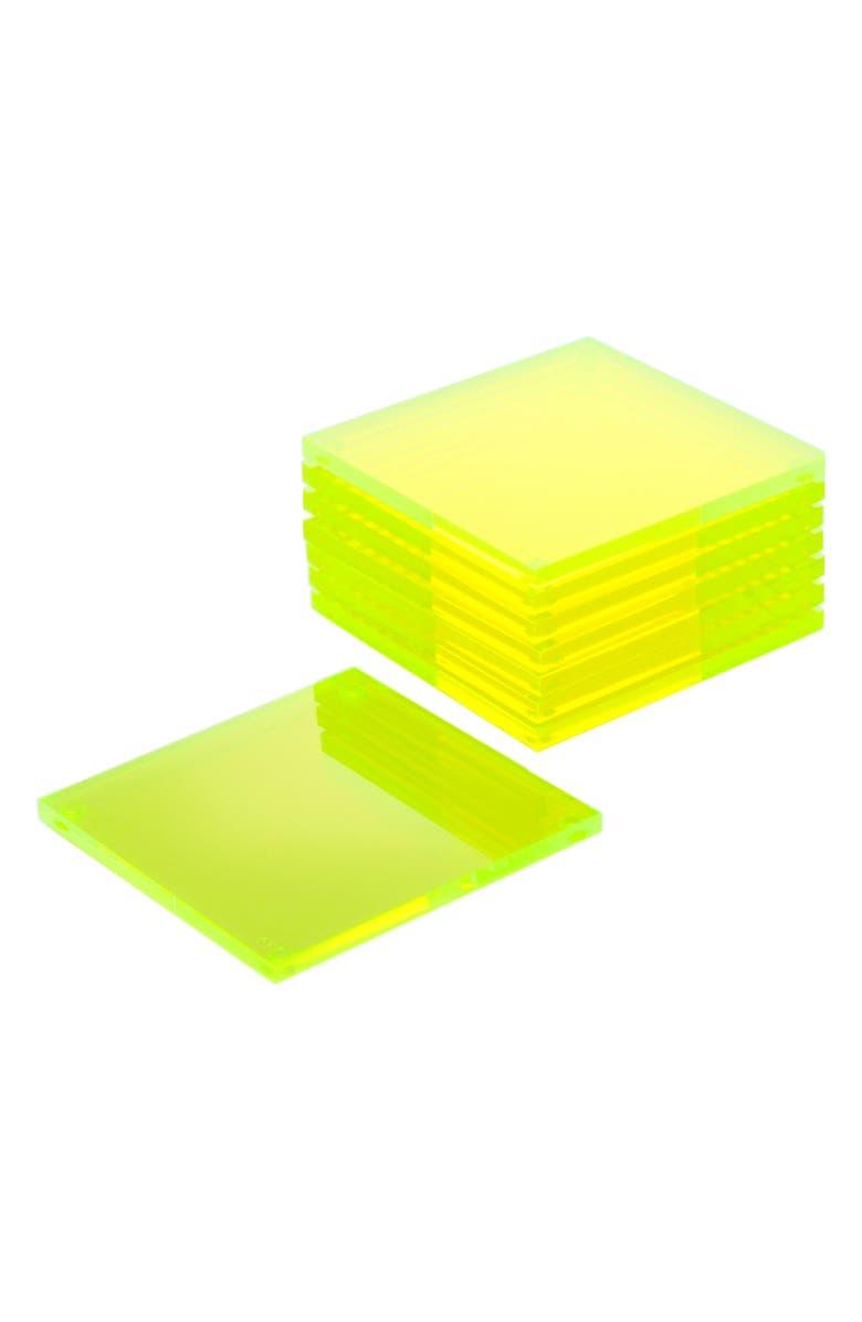 ALEXANDRA VON FURSTENBERG Set of 8 Coasters, Main, color, GREEN