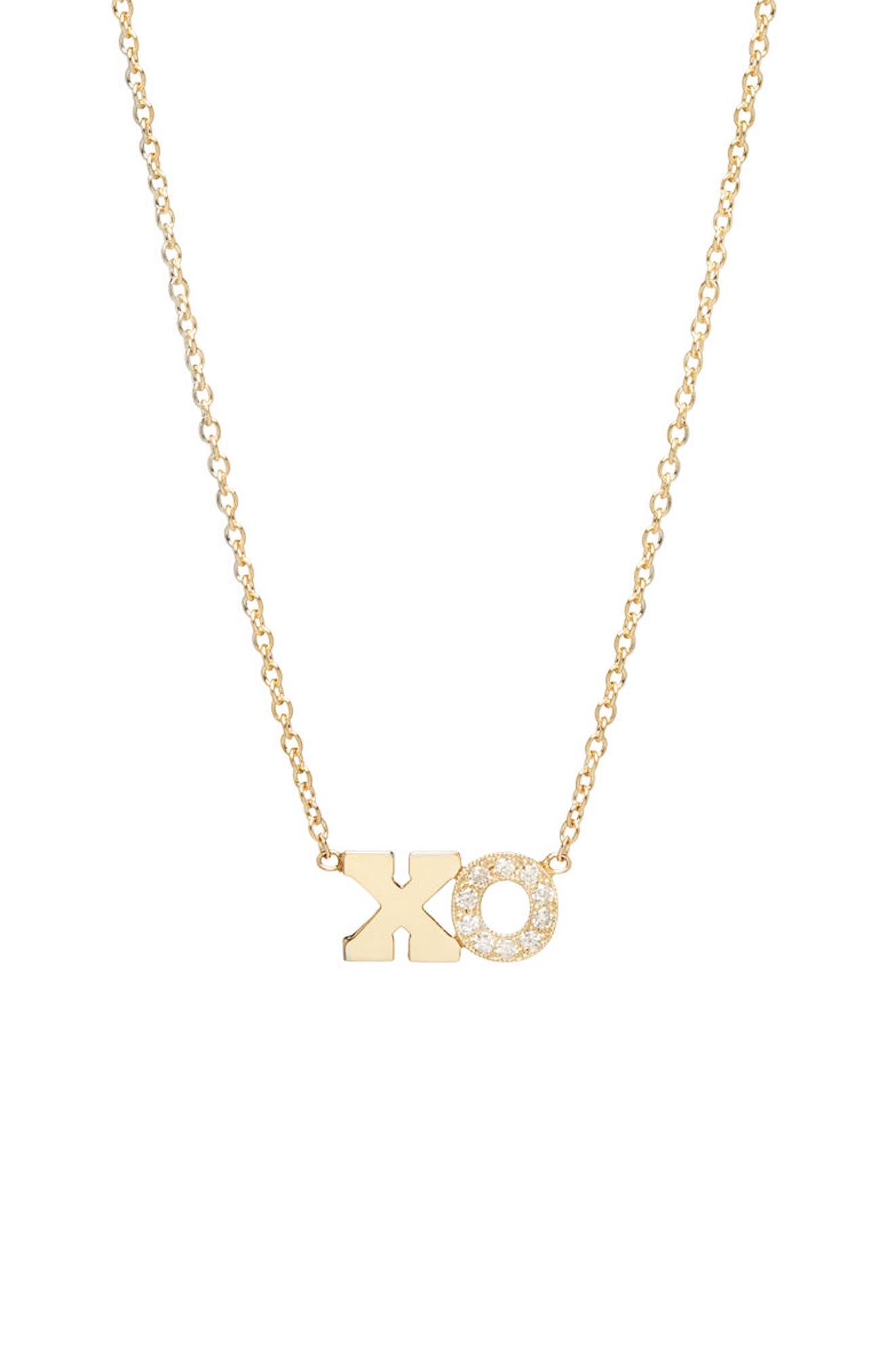 Zoe Chicco Typographical Diamond Pendant
