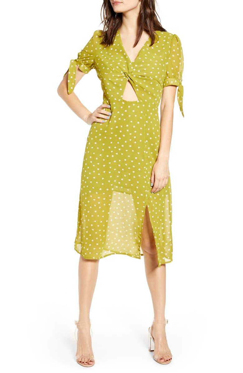 J.O.A. J.O.A Twist Front Midi Dress, Main, color, KIWI MULTI