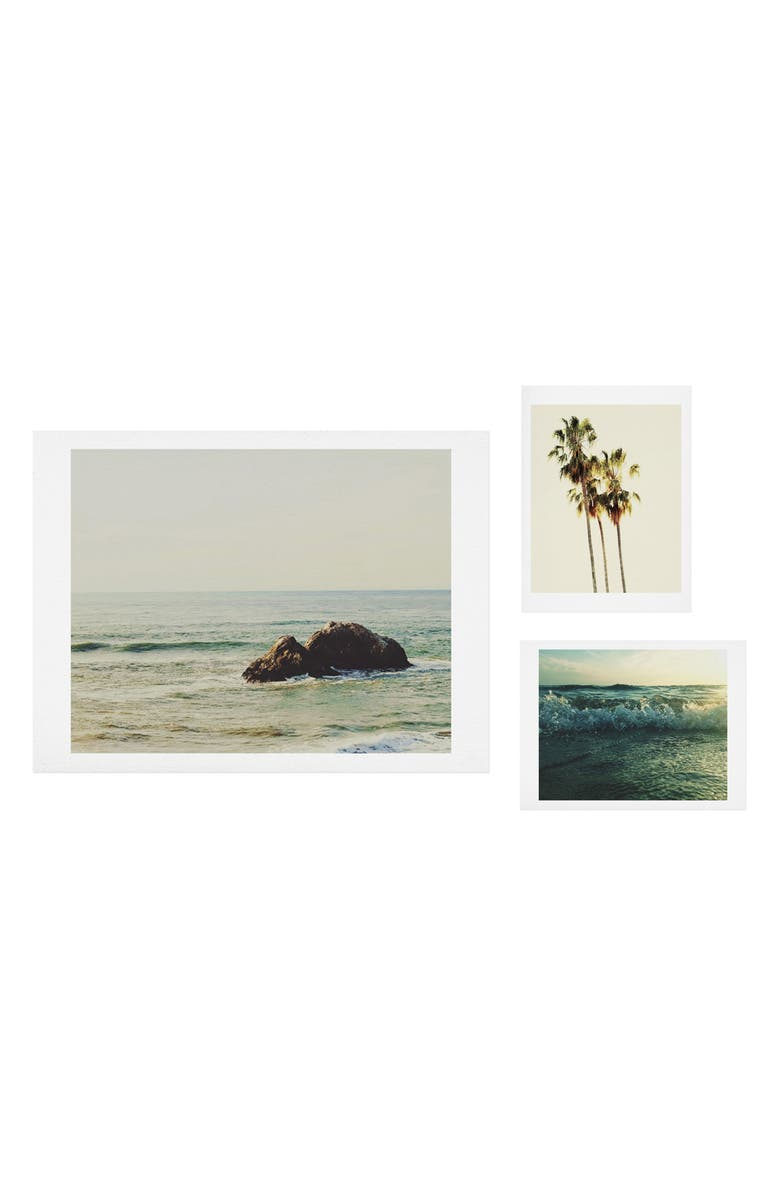 DENY DESIGNS Ocean Calling 3-Piece Gallery Wall Art Print Set, Main, color, GREEN/ BLUE