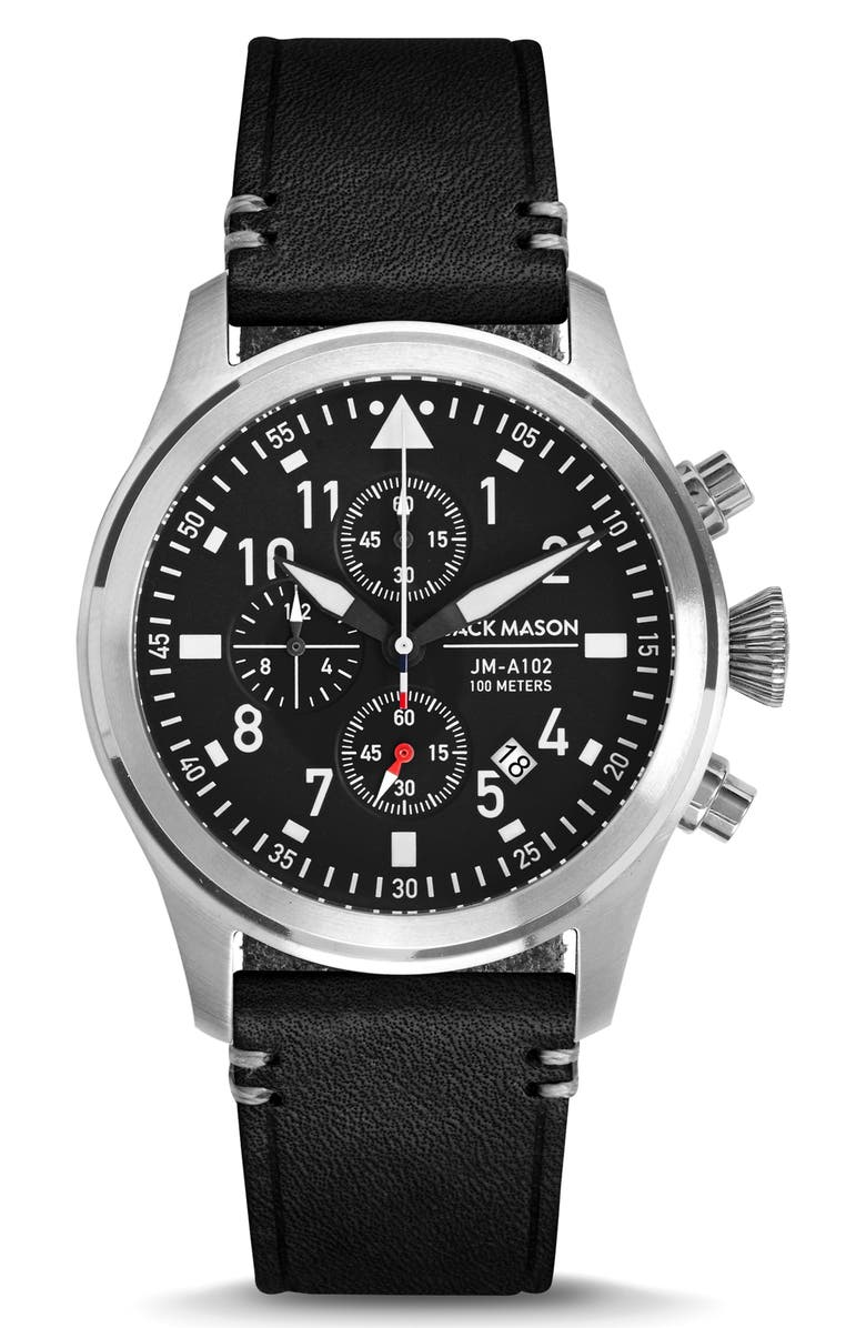 JACK MASON Chronograph Leather Strap Watch, 42mm, Main, color, 040