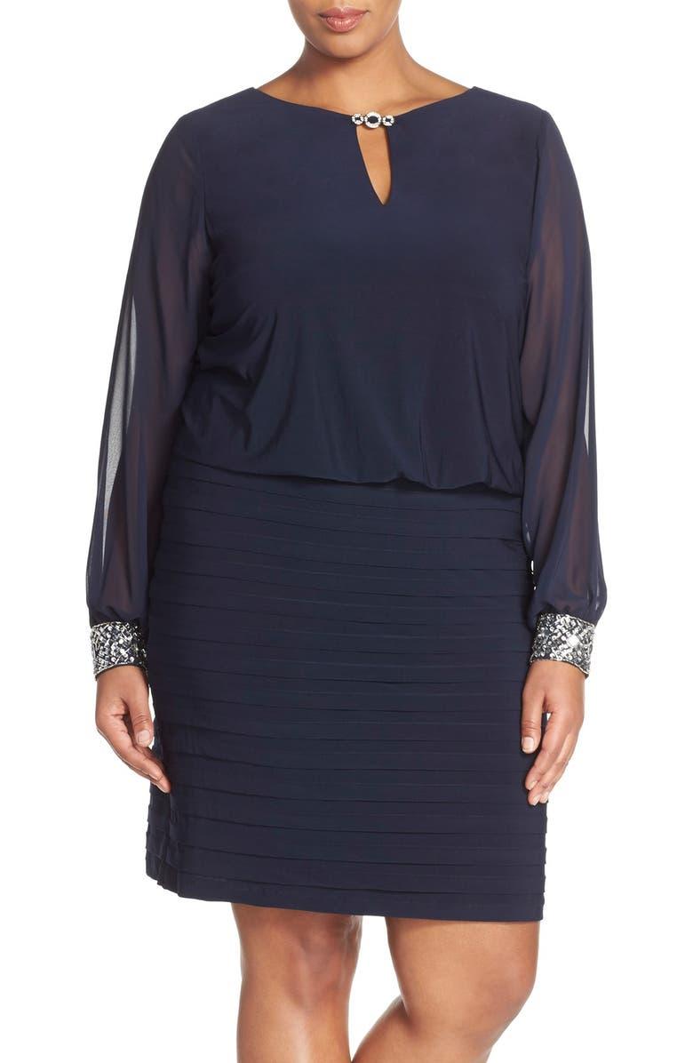 Patra Embellished Chiffon & Jersey Blouson Dress (Plus Size ...