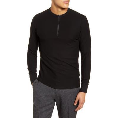 Boss Textor Regular Fit Quarter Zip Rib T-Shirt, Black
