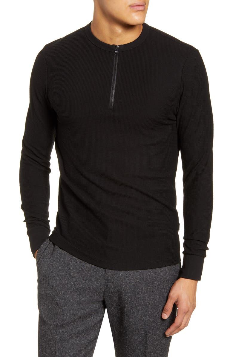 BOSS Textor Regular Fit Quarter Zip Rib T-Shirt, Main, color, BLACK