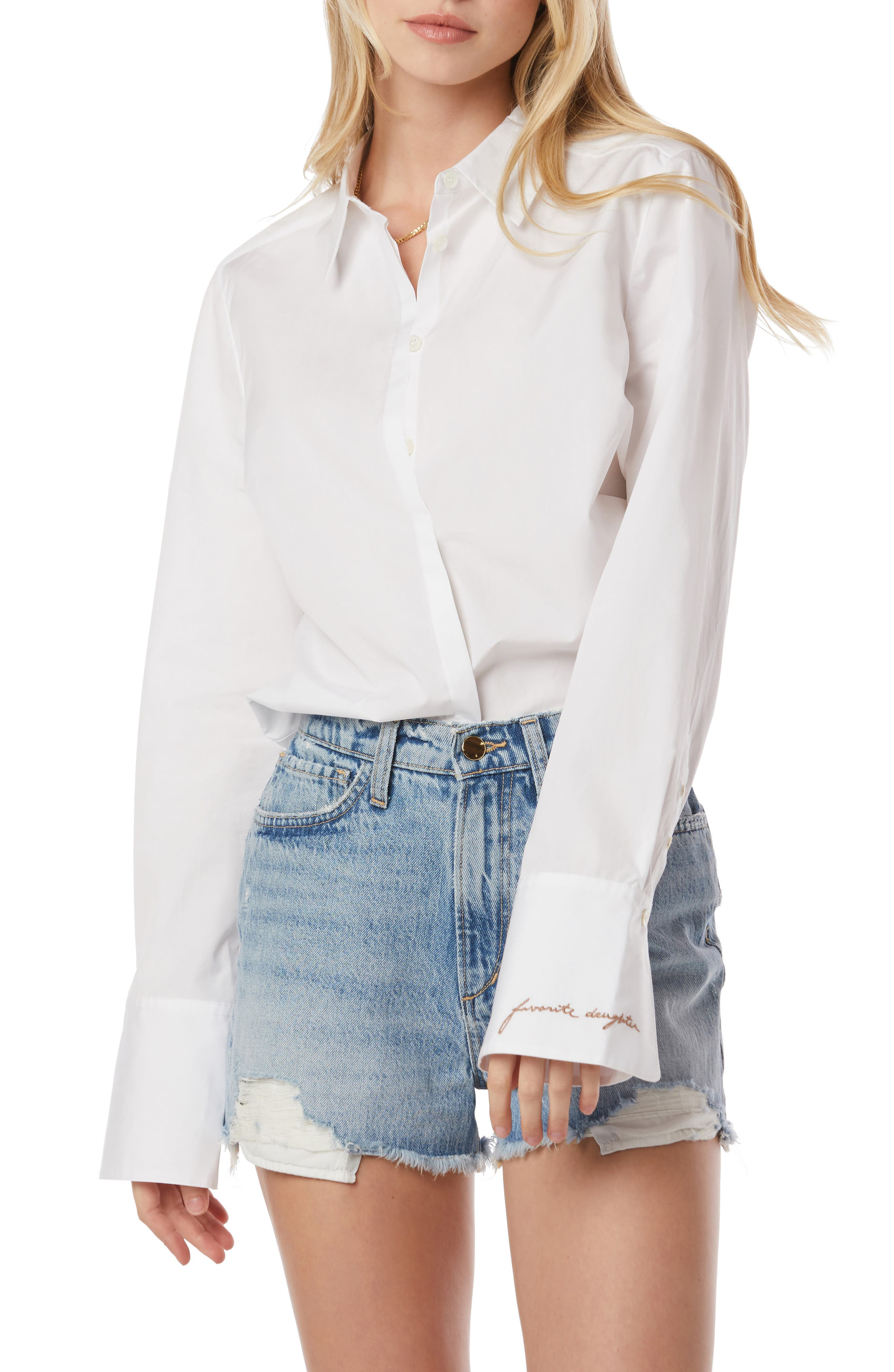 Embroidered Cuff Poplin Shirt