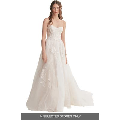 Willowby Harmony Strapless Lace & Tulle Wedding Dress, Size IN STORE ONLY - Ivory