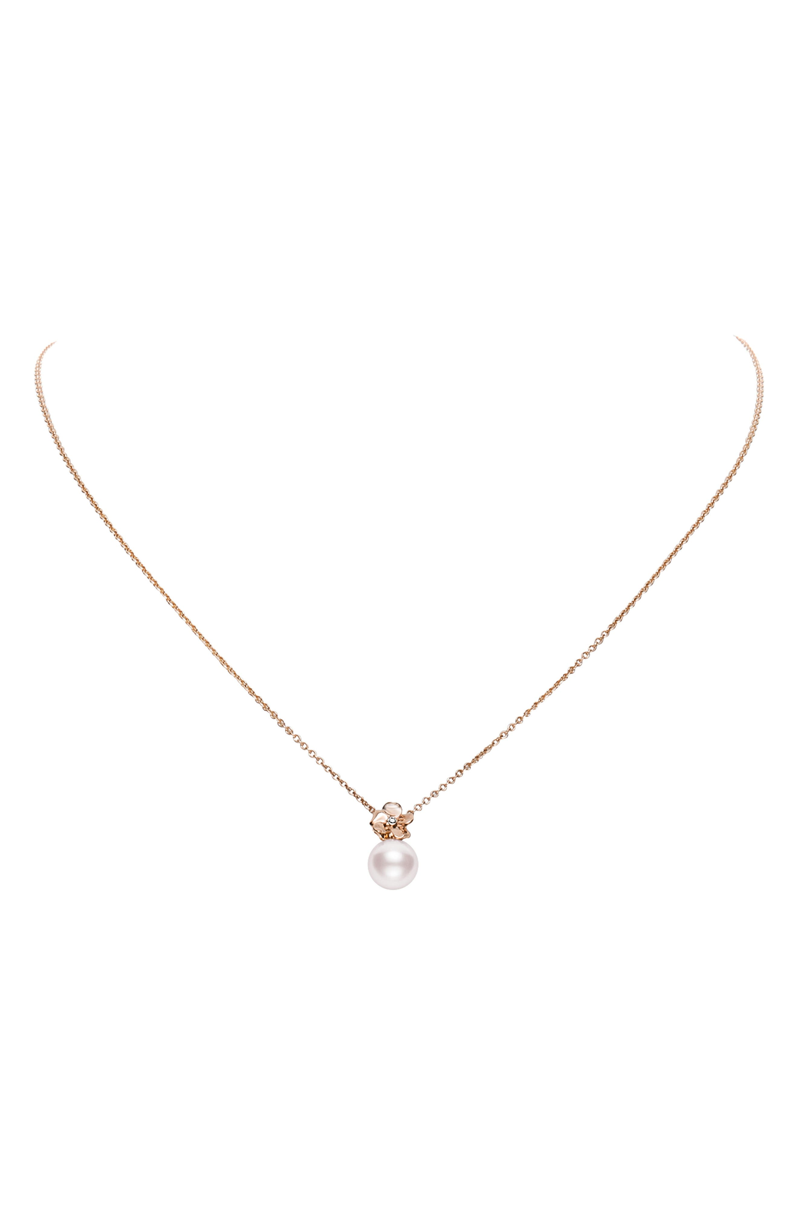 Cultured Pearl Pendant Flower Necklace