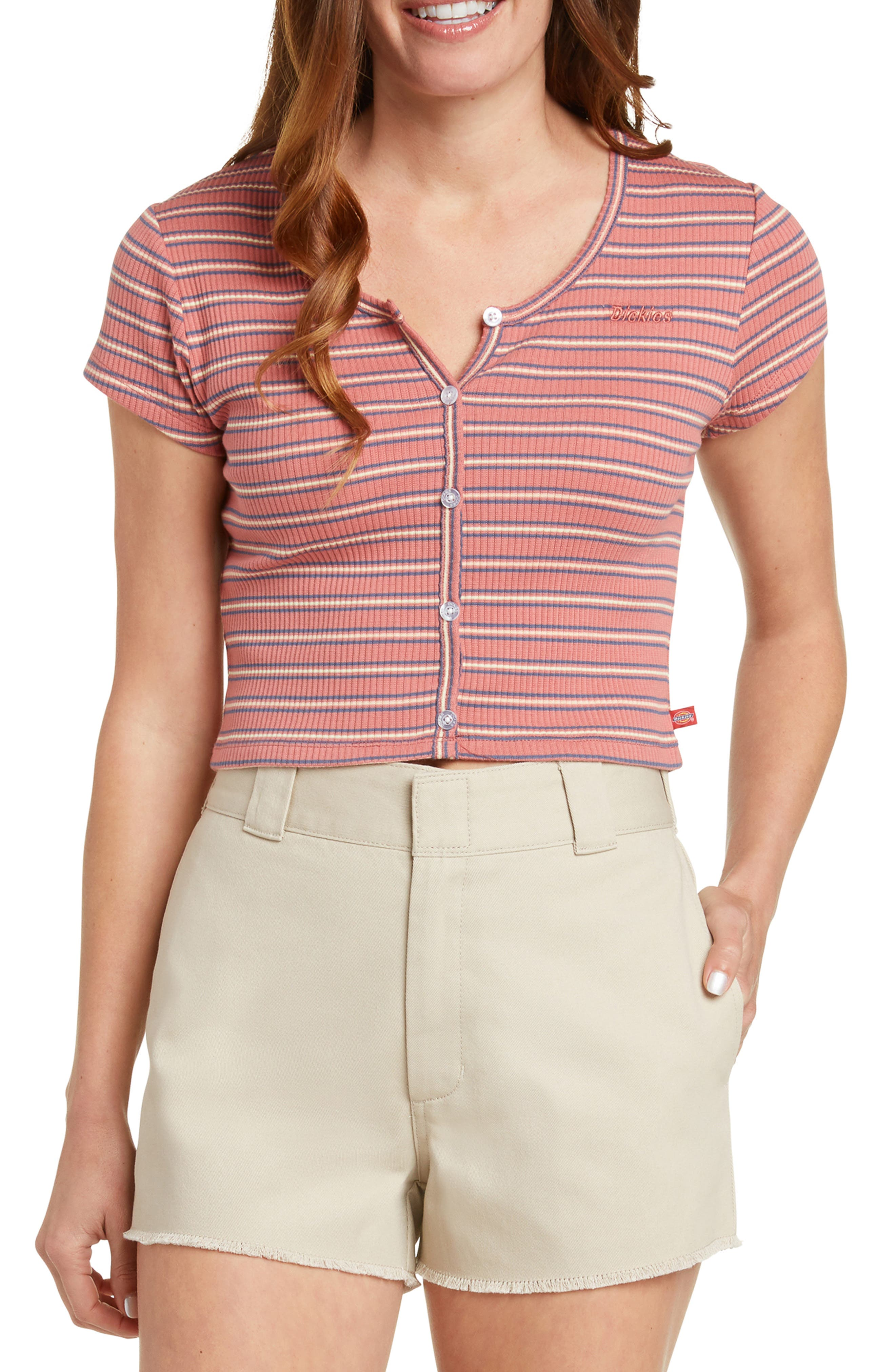 Rib Knit Button Front Top
