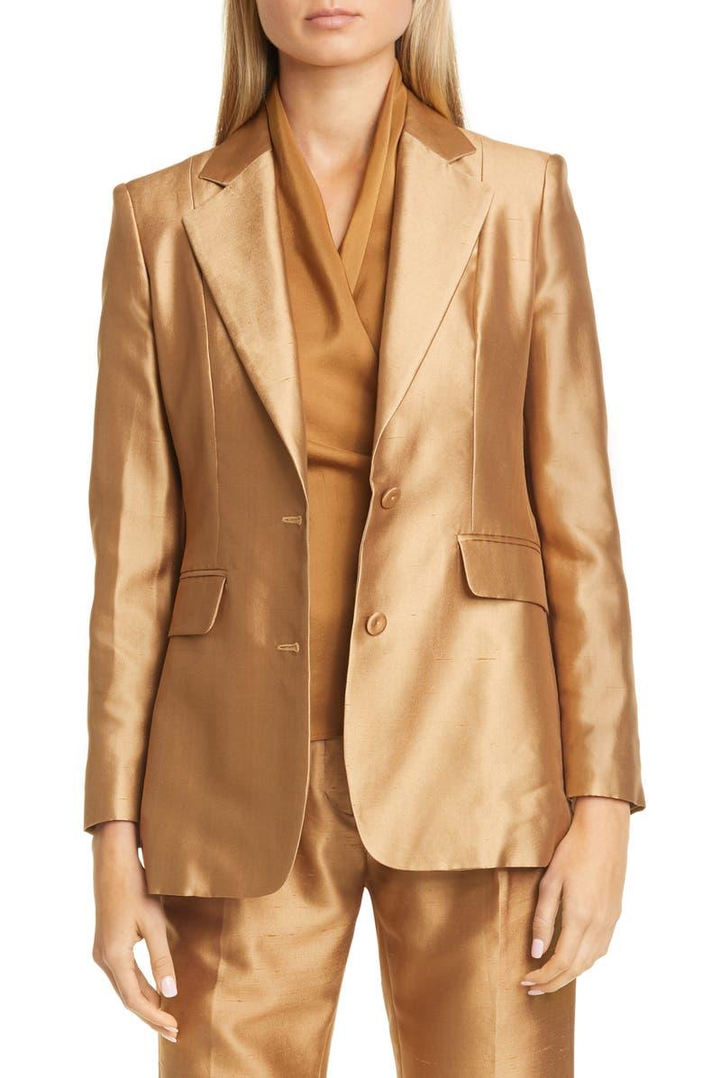 MAX MARA Omar Silk Blend Shantung Jacket, Main, color, CAMEL