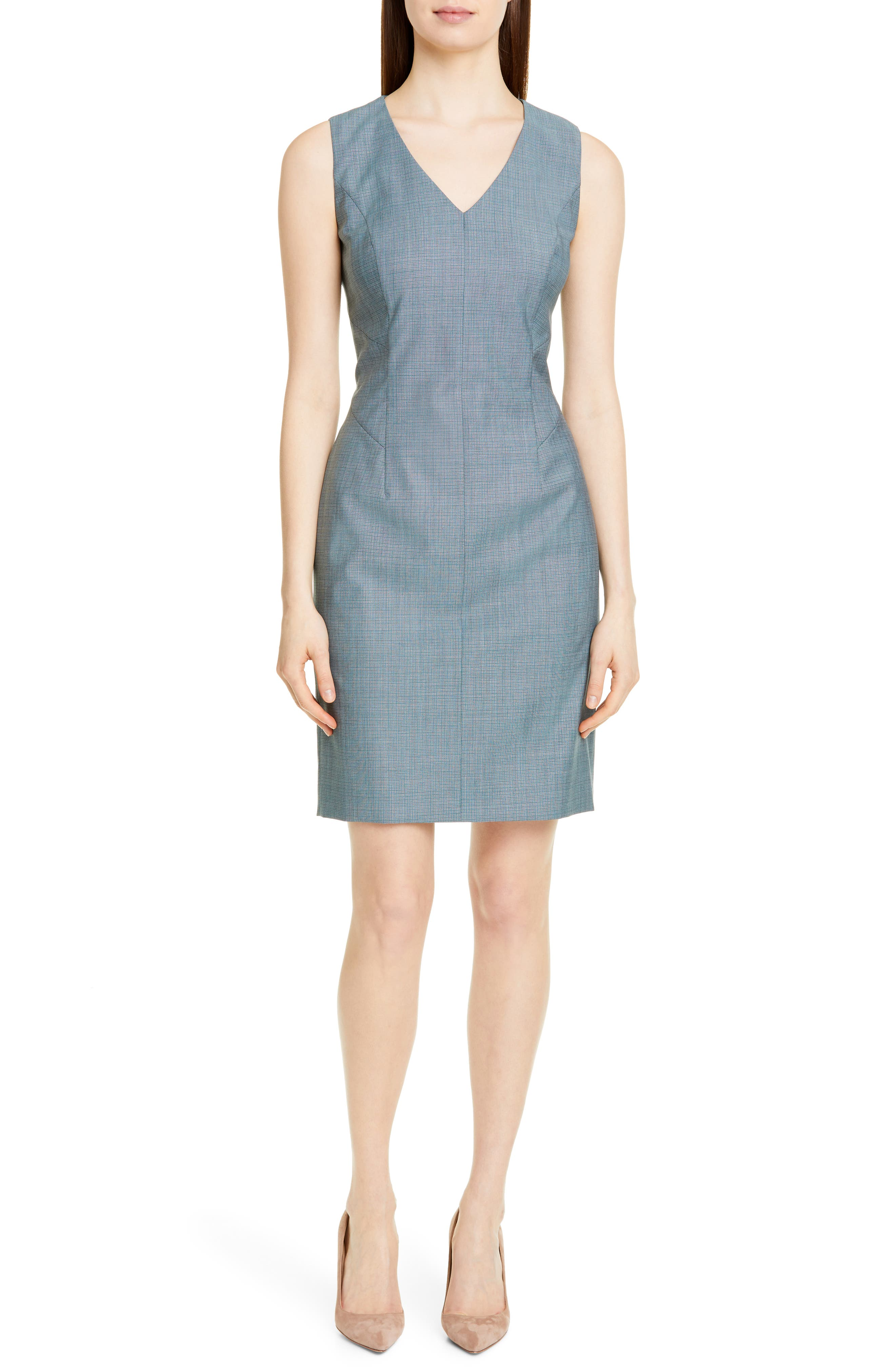 Petite Boss Dictana Microcheck Wool Sheath Dress, P - Blue/green