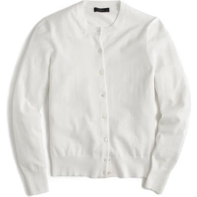 J.crew Jackie Cotton Blend Cardigan, White
