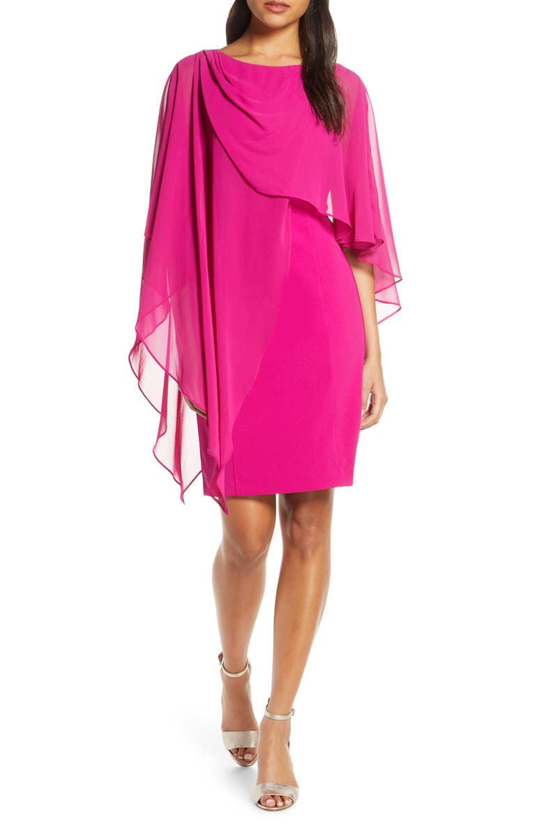 ELIZA J Chiffon Cape Cocktail Dress, Main, color, MAGENTA
