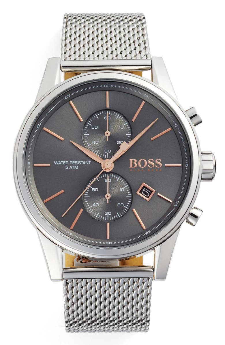 BOSS Jet Chronograph Mesh Strap Watch, 41mm, Main, color, SLATE/ SILVER