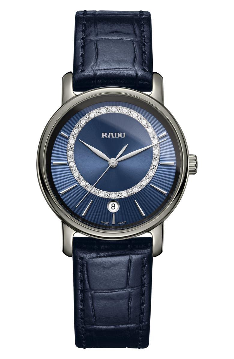 RADO DiaMaster Diamond Leather Strap Watch, 33mm, Main, color, 400