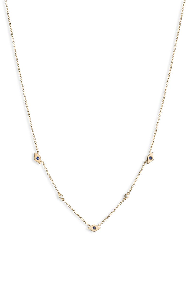 EF COLLECTION Multi Mini Evil Eye Frontal Necklace, Main, color, YELLOW GOLD/ DIAMOND